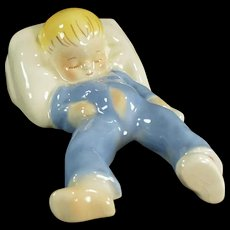 Vintage California Pottery - Old Dadson Artware Toddler Figurine - Sleeping Baby