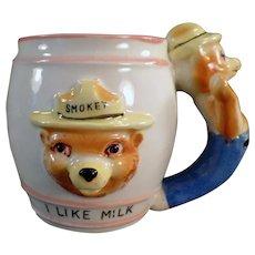 Child's Vintage Smokey the Bear I Like Milk Mug with Figural Handle
