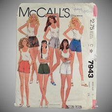 Vintage McCall's Pattern #7943 for Short Shorts  - Misses Size 8 - 1982