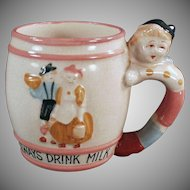 Child's Vintage Milk Cup - Old Mug with a Cute Decorations and a Figural Handle