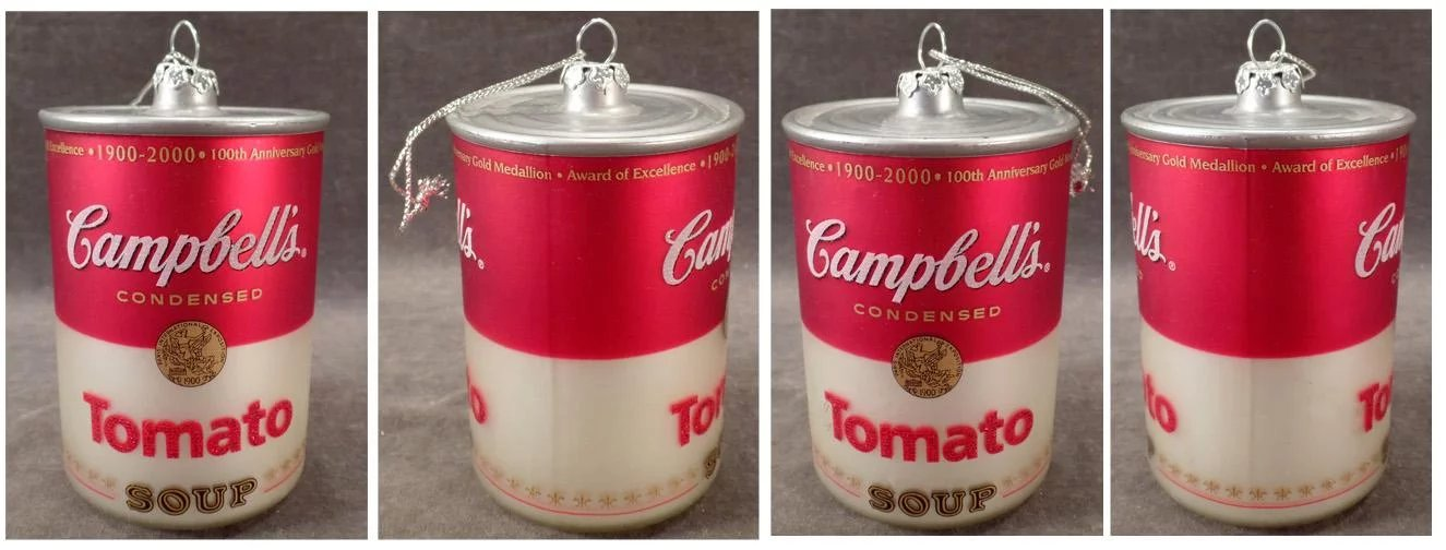 Old Glass Christmas Ornament - Campbell's Tomato Soup Can ...