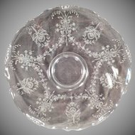 "Vintage Heisey 14"" Clear Party Platter – Orchid Etch on Waverly Pattern"