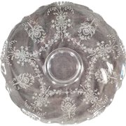 "Vintage Heisey – 14"" Clear Glass Party Platter – Old Orchid Etch on Waverly Pattern"