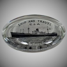 Vintage Glass Paperweight – Mackinnon Mackenzie & Co. Of Japan – Old Steamship