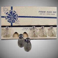 Vintage Sterling & Glass Salt and Pepper Shakers - 4 Sets - Original Box