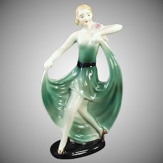 Vintage Porcelain Figurine - Old Deco Decor - Girl in a Flared Green Dress