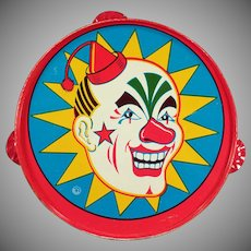 Vintage Toy Tambourine - Colorful Old Tin Noise Maker with Laughing Clown