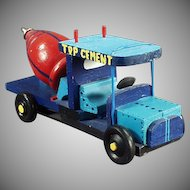 Old Wood Cement Truck Toy - Hand Crafted from a Wooden Top