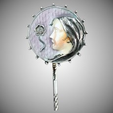 Vintage Art Nouveau Stickpin – Old Sterling Stick Pin with Enamel