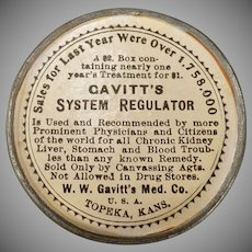 Vintage Medical Advertising Mirror – Old Gavitt's System Regulator Laxative Advertisement