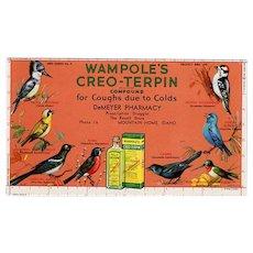 Vintage Ink Blotter - Old Blotter Advertising Wampole's Creo-Terpin