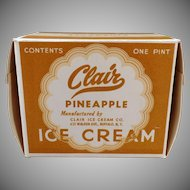 Vintage Clair Ice Cream Carton – Old One Pint Pineapple I.C. Box