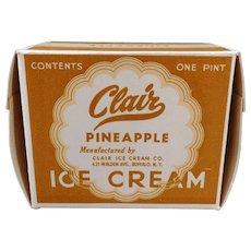 Vintage Clair Ice Cream Carton – Old One Pint Pineapple I.C. Box