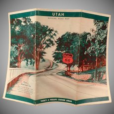 Vintage Phillips 66 Road Map – Old 1940 Utah State Map