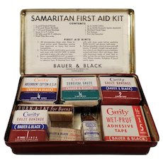 Vintage Samaritan First Aid Kit Tin with Old Bauer & Black Curity Medical Products