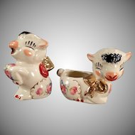 Vintage Shawnee Pottery Lamb Cream & Sugar Set with Decals & Gold Accents
