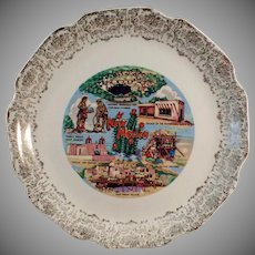 Vintage Souvenir Plate - Old Souvenir with Noted New Mexico Landmarks