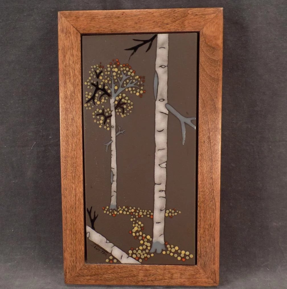 Framed ceramic art tile with aspen trees attractive old accent click to expand dailygadgetfo Images
