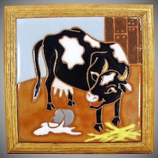 Framed Ceramic Art Tile - Colorful Cow and Spilt Milk - The Painting Loft