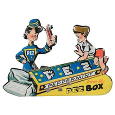 Vintage Advertising Clicker Toy – Old Pez Candy Lithographed Tin Clicker – U.S.Zone Germany