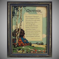 "Vintage Motto Print ""Mother! Home!"" - Old Poem by John Jarvis Holden"