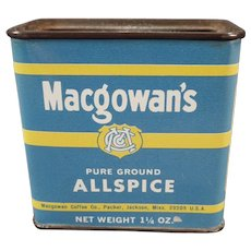 Vintage Spice Tin – Macgowan's Allspice Tin with Old Coffee Advertising