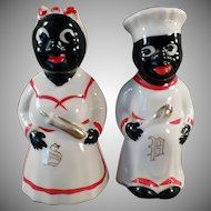 Vintage Black Mammy and Chef - Old Salt and Pepper Set - Hand Painted with Gold Trim