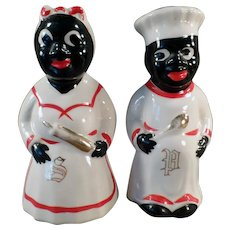 Vintage Black Mammy and Chef Salt and Pepper Set with Gold Trim