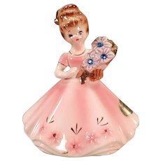 Vintage Josef Original – Old Porcelain Birthday Girl - September with Sapphire Birthstones