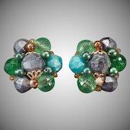 Vintage Costume Jewelry Earrings – German Bead Clip-on Earrings -Greens and Gray