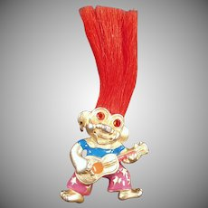 Vintage Troll Doll Necklace - Old L.Razza Troll - Colorful and Fun Costume Jewelry
