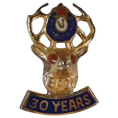 Vintage Elk Pin - 30 Year BPOE Lapel Stud - Gold on Sterling Silver