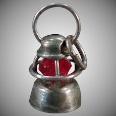 Vintage Sterling Silver Charm – Miniature Railroad Lantern with Red Bead Globe