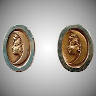 Vintage Bean Back Cuff Links - Old Art Nouveau Links with Woman in Crescent Moon - Early 1900's