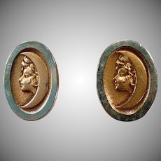 Vintage Bean Back Art Nouveau Cuff Links with Woman Crescent Moon - ca 1900