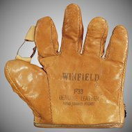 Child's Vintage Baseball Mitt - Old Leather Winfield  F33