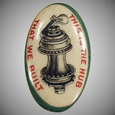 Vintage Celluloid Button - Wheel Hub Advertising