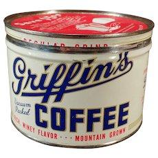 Vintage 1# Key Wind Coffee Tin - Old Griffin's Coffee – Muskogee, Oklahoma