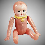 Vintage Wind-up Celluloid Doll - Old Celluloid Baby Doll in Pink Bunting