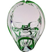 Vintage Glass Basket Vase – Green Cased Glass – Mid Century