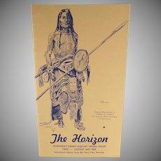 Vintage Restaurant Menu – The Horizon, Montana – Charles Russell Sioux Indian Sketch - Buffalo Hunter
