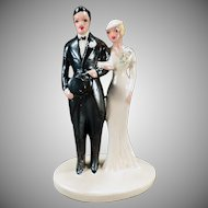 Vintage Wedding Bride & Groom – Large Old Chalkware Cake Topper – 1920's