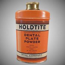 Vintage Holdtite Tin Denture Powder Tin - Old Dental Plate Powder Tin