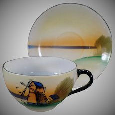 Vintage Cup and Saucer – Old Teacup and Saucer with Windmill Scene