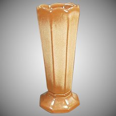 Vintage Frankoma Pottery - Octagonal Vase in Brown Satin Glaze