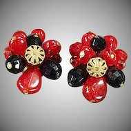 Vintage Clip-On Costume Jewelry Earrings - Red and Black Glass Beads