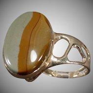 14k Gold Picture Jasper Ring - Unusual Mount - Artisan Made Estate Jewelry