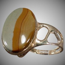 14k Gold Picture Jasper Ring - Unusual Mount - Artisan Made Estate Jewelry