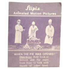 """Vintage Optical Illusion Flip Book -Old Flipix """"When the Pie Was Opened"""" Dancing Girl"""