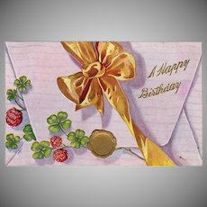 Vintage Postcard - Old Birthday Postcard - Envelope with Bow and5  Shamrocks